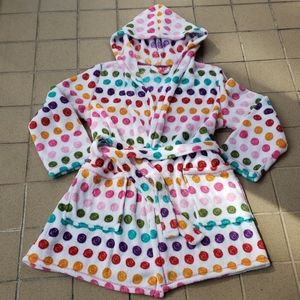 Thick Plush Polka-dot Belted Bath Robe Large